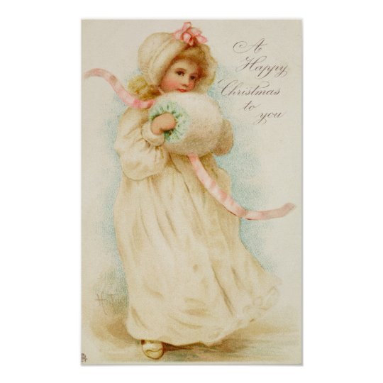 Christmas card depicting a girl with a muff poster