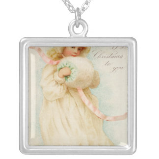 Christmas card depicting a girl with a muff silver plated necklace