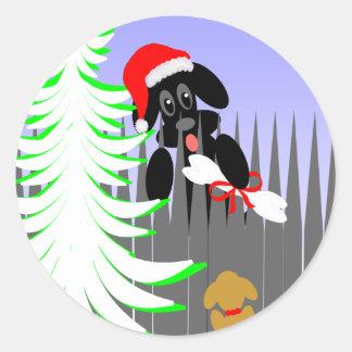 Christmas Card Dog Humor Santa Dog With Bone Round Sticker