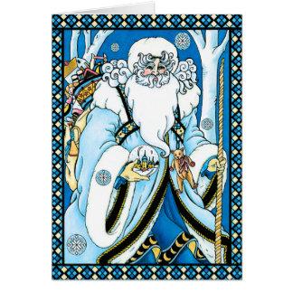 Christmas Card: Father Christmas with Gifts
