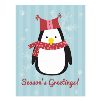 Christmas card featuring cute penguin postcard