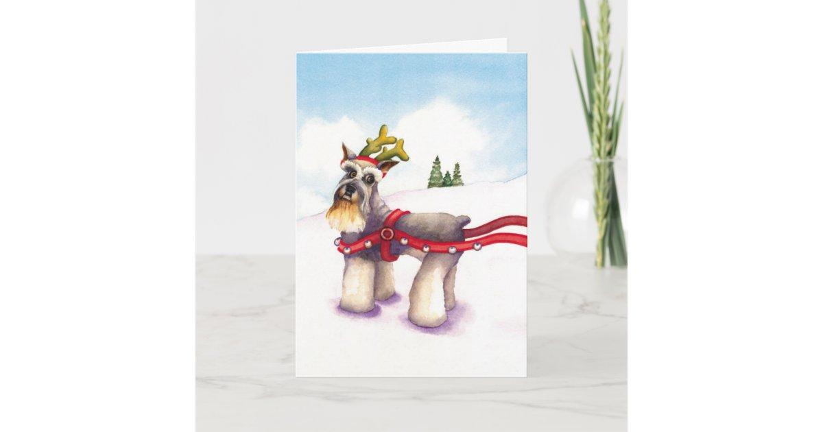 Christmas Card for Dog Lover - Schnauzer Reindeer | Zazzle.com
