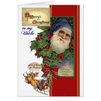 Christmas card for Uncle - Vintage Santa, Sleigh