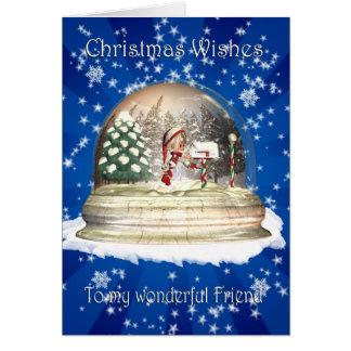 Christmas card, Friend Christmas, Elf in a snow gl Greeting Card