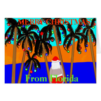 Christmas card from Florida palm trees santa