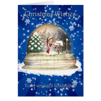 Christmas card, Goddaughter Christmas, Elf in a sn Greeting Card