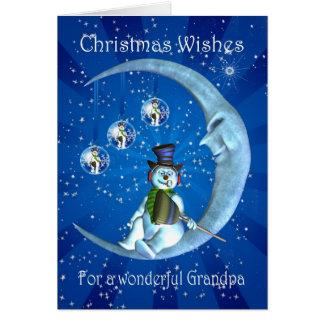Christmas card, Grandpa Christmas, Snowman on the Card