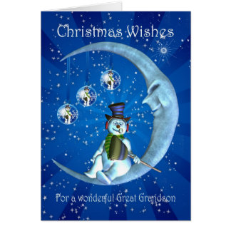 Christmas card, Great Grandson Christmas, Snowman Greeting Card