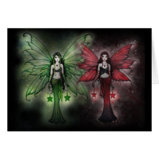 Christmas Card Green and Red Fairies