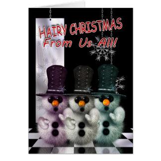 Christmas Card - Hairy Christmas Snowman - Good Fo