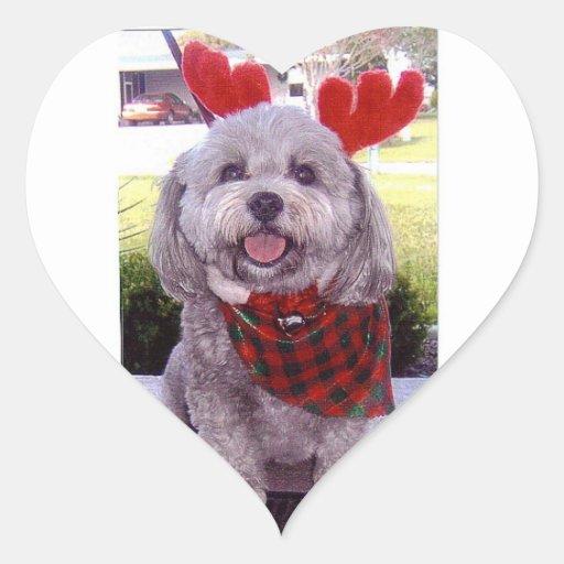 Christmas card heart sticker