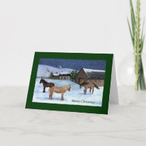 CHRISTMAS CARD: HORSES, SNOW: ART HOLIDAY CARD