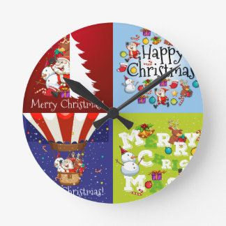 Christmas card in four designs round clock