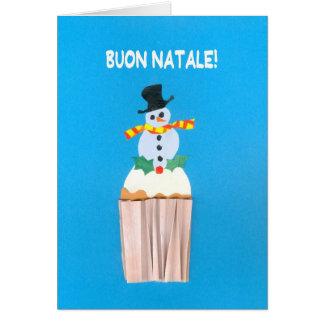 Christmas Card Italian Cupcake with Snowman