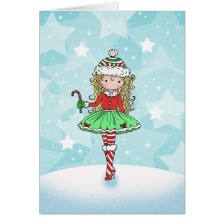 Christmas Card Little Girl with Candycane