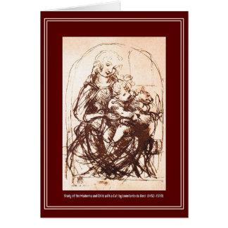 Christmas Card: Madonna & Christ Child holding Cat