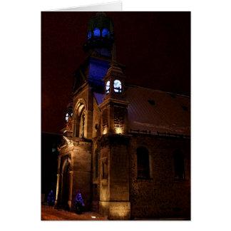 Christmas card - Montreal church at night