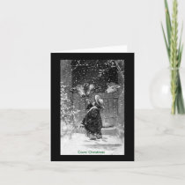 Christmas Card/Note Card: Vintage Cow's Christmas Holiday Card