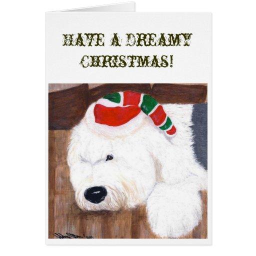 Christmas Card - Old English Sheepdog