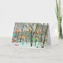 Christmas Card Peace With Christmas Lights