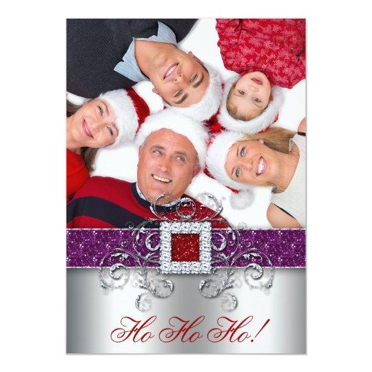 Christmas Card Photo Santa Belt Glitter Purple