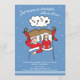 christmas card pregnancy announcement brunette - Pregnancy Announcement Christmas Card