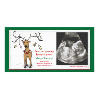 Christmas Card Pregnancy Announcement- Reindeer Photo Card Template