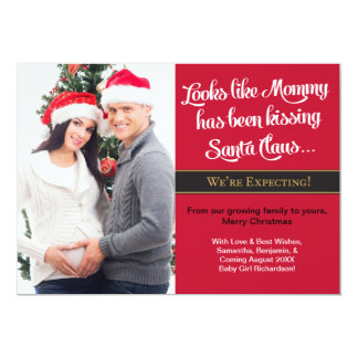 Christmas Card Pregnancy Photo Announcement -Mommy