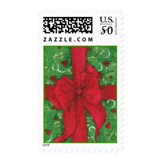 Christmas Card Present postage stamp