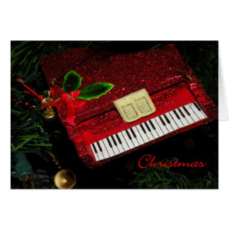 Christmas Card Red Glitter Piano