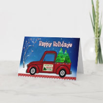Christmas Card Red Truck Personalize