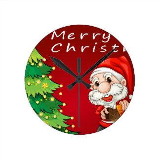 Christmas card round clock