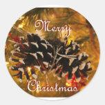 christmas card round sticker