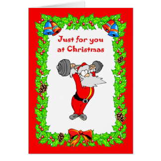 , Christmas card Santa getting fit