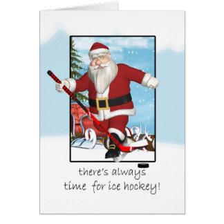 Christmas Card, Santa Ice Hockey Practice