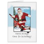 Christmas Card, Santa Ice Hockey Practice Card