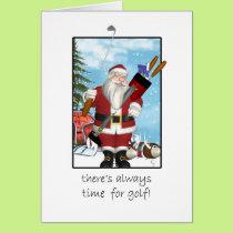 Christmas Card, Santa Playing Golf Card