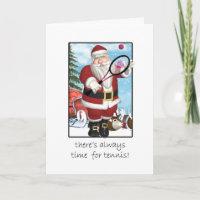 Christmas Card, Santa Playing Tennis Holiday Card