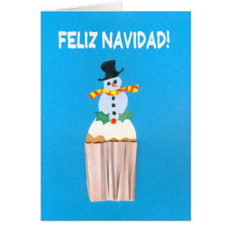 Christmas Card, Spanish, Cupcake with Snowman