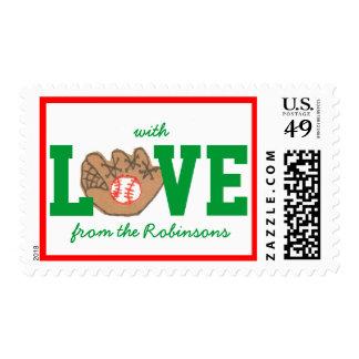 Christmas card stamps -- baseball LOVE