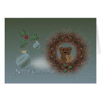 Christmas Card ~ Teddy Bear Wreath
