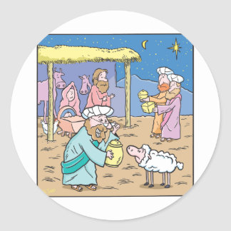 Christmas Card The Three Wise Kings Classic Round Sticker