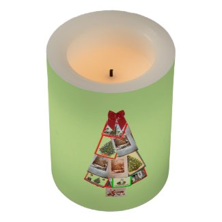 Christmas Card Tree Flameless Candle