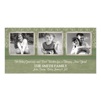 Christmas Card with 3 VERTICAL photos Photo Greeting Card