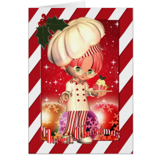 Christmas Card With Cute Chef And Tree