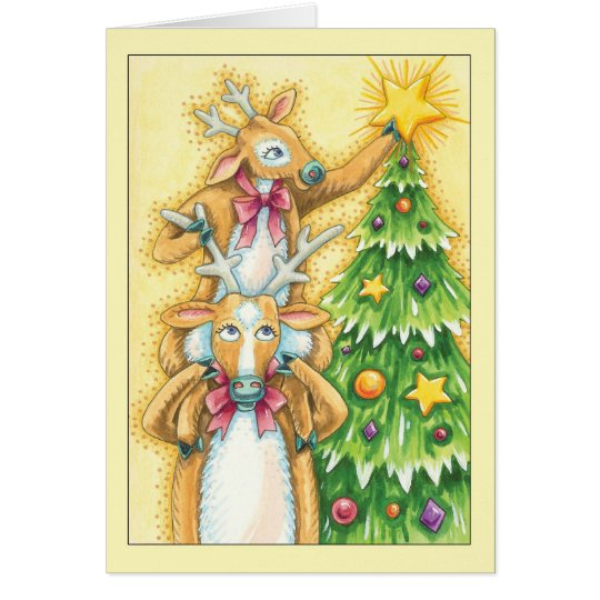 Christmas Card With Cute Pair Of Reindeer Putting
