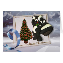 Christmas card with cute skunk merry Christmas