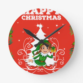 Christmas card with elf round clock