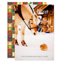 Christmas card with farm animals outdoor in snow