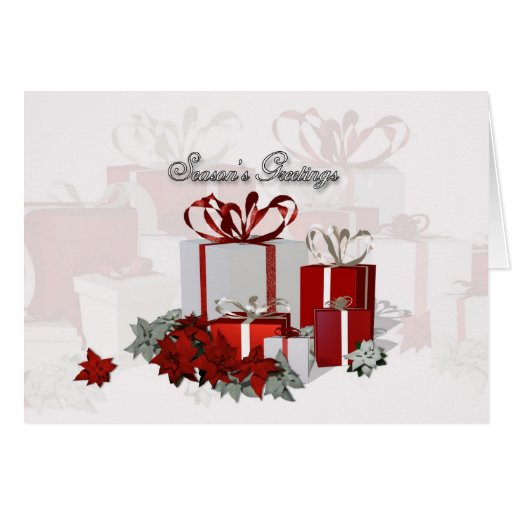 Christmas card with gifts business greeting zazzle for E christmas cards for business